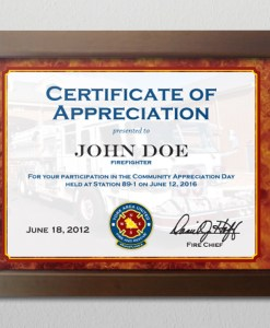 fire department achievement certificate