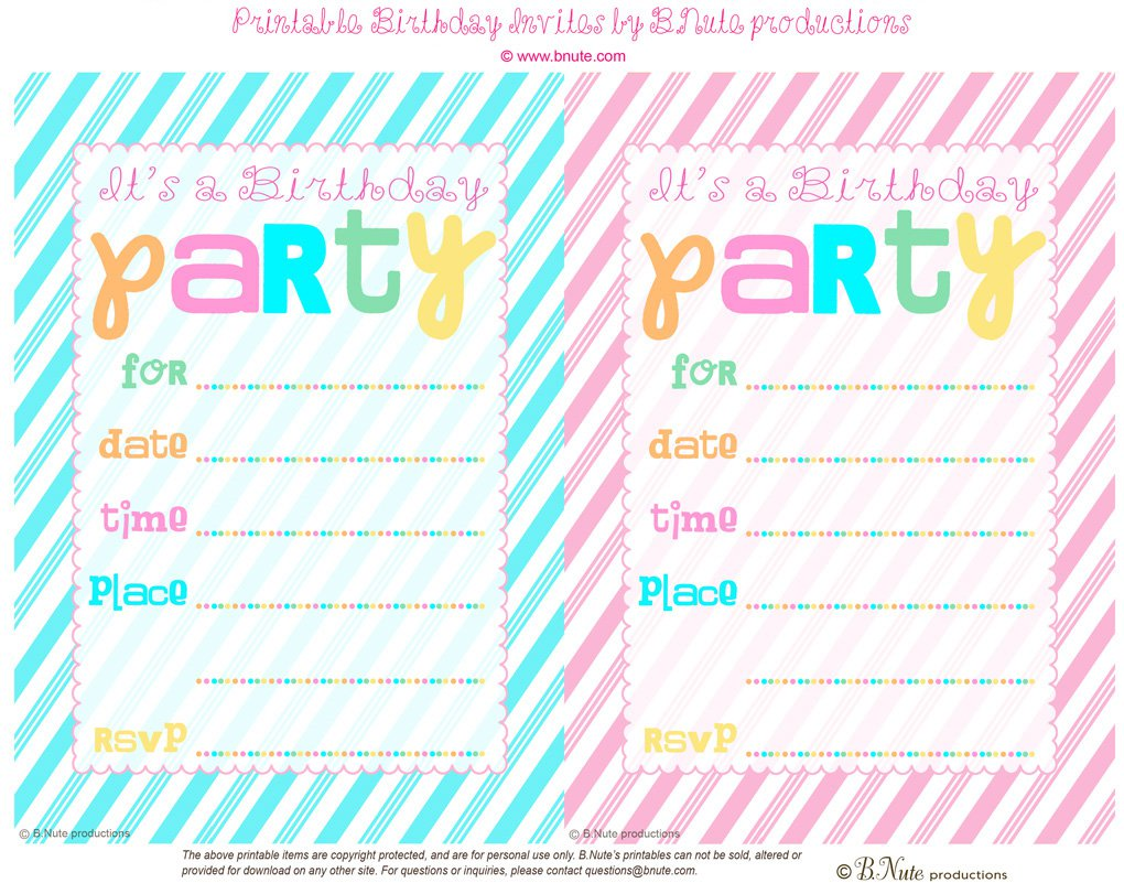 11 Year Old Girl Birthday Party Invitations