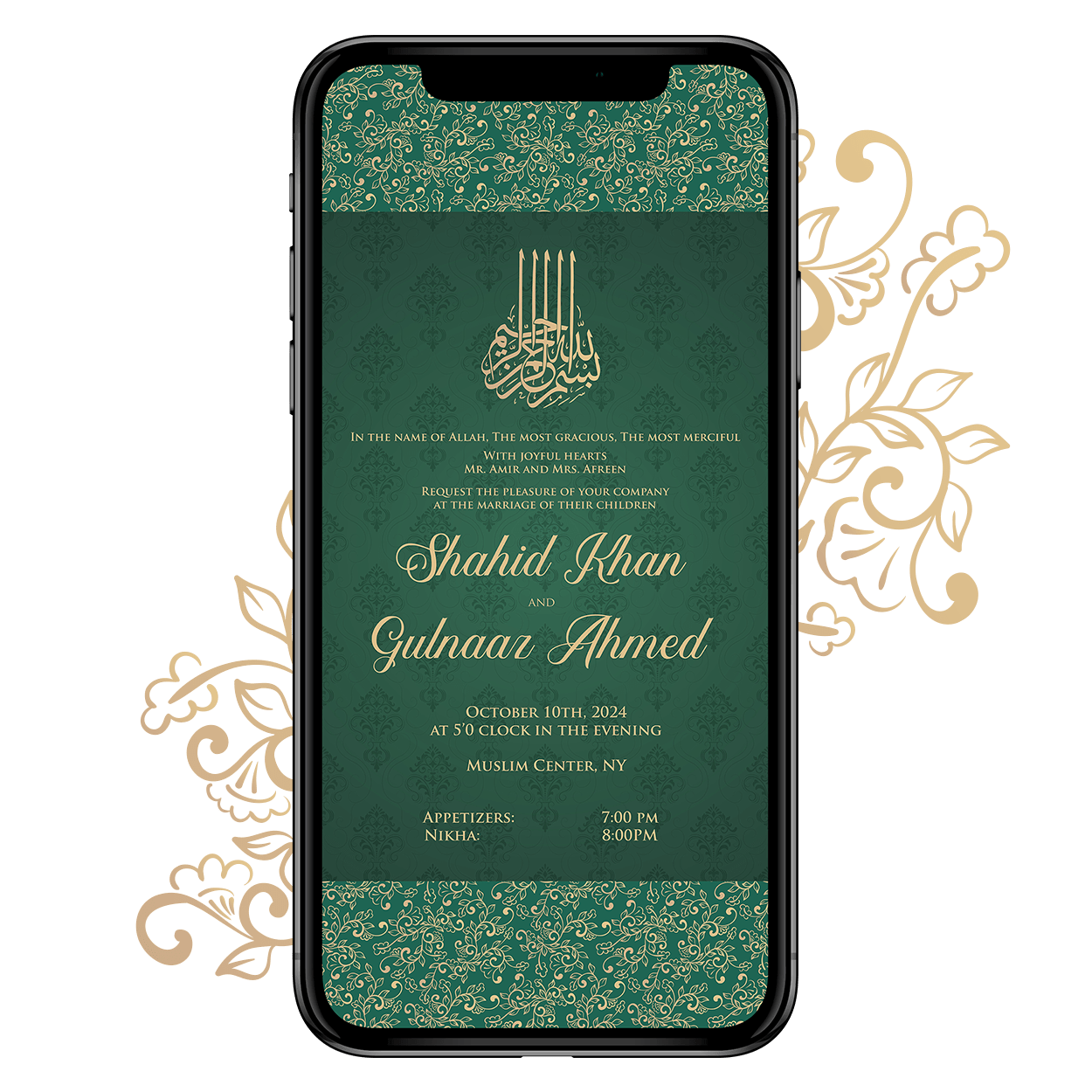 Invites Cafe Muslim Wedding Invitation 001