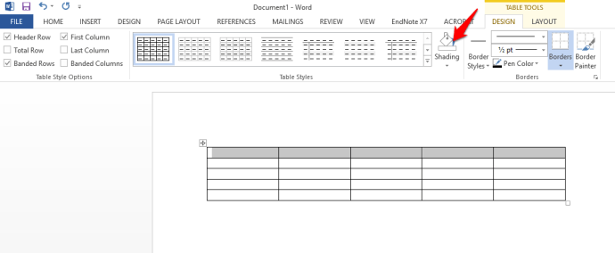 Table formatting for the Word invoice template