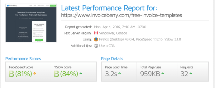 InvoiceBerry's GTMetrix speed test results before adjustments.