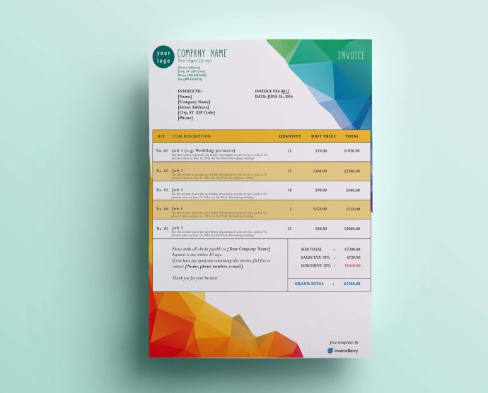 Our Polygon Mountain free GIMP invoice template will show off your colorful personality while keeping you professional
