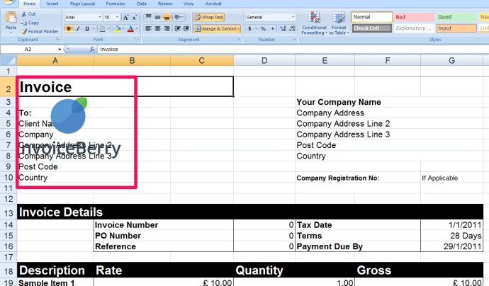 Now you can add your logo to your invoice