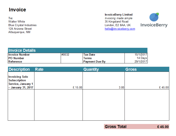 And here is the final invoice. You can also customize it as you wish