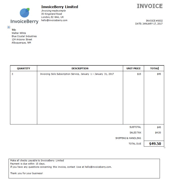 This is how your completed invoice will look with Microsoft Word