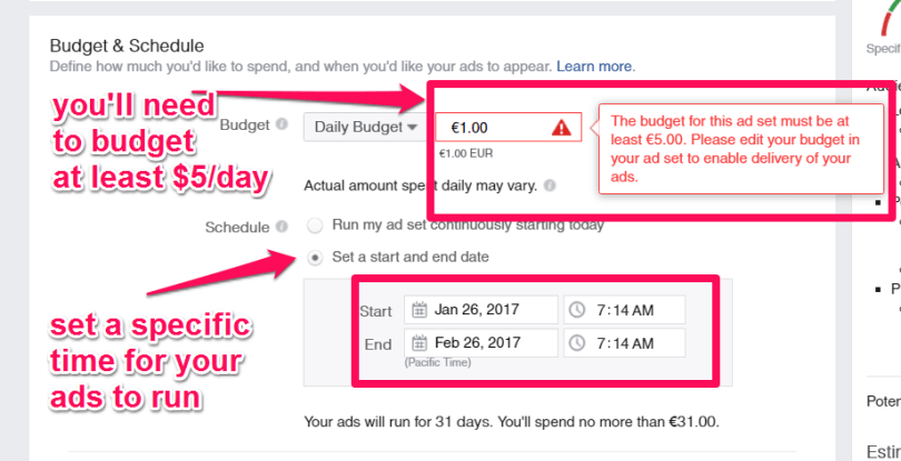 When you create your Facebook ad, it will be best to not run it continuously