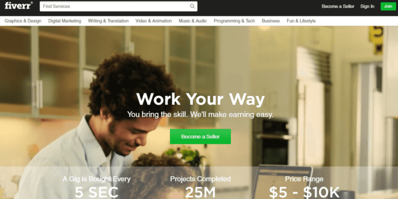 Fiverr is one of the most popular places to find freelance jobs