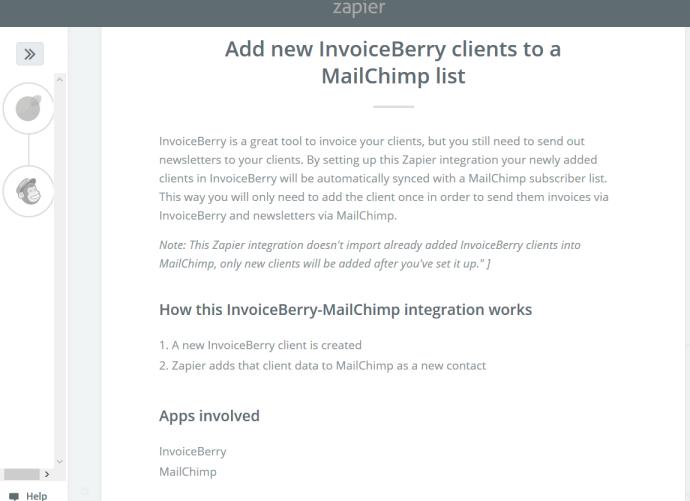 MailChimp zap summary.