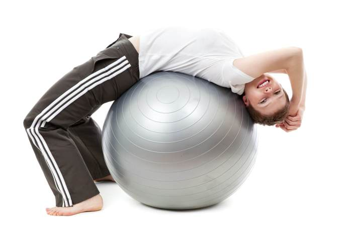 Exercise ball in action.