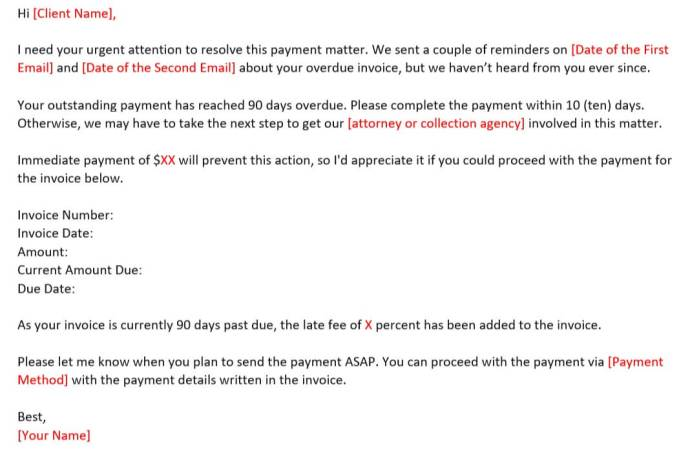 Email Reminder Template on Late Payment for More Than 90 Days