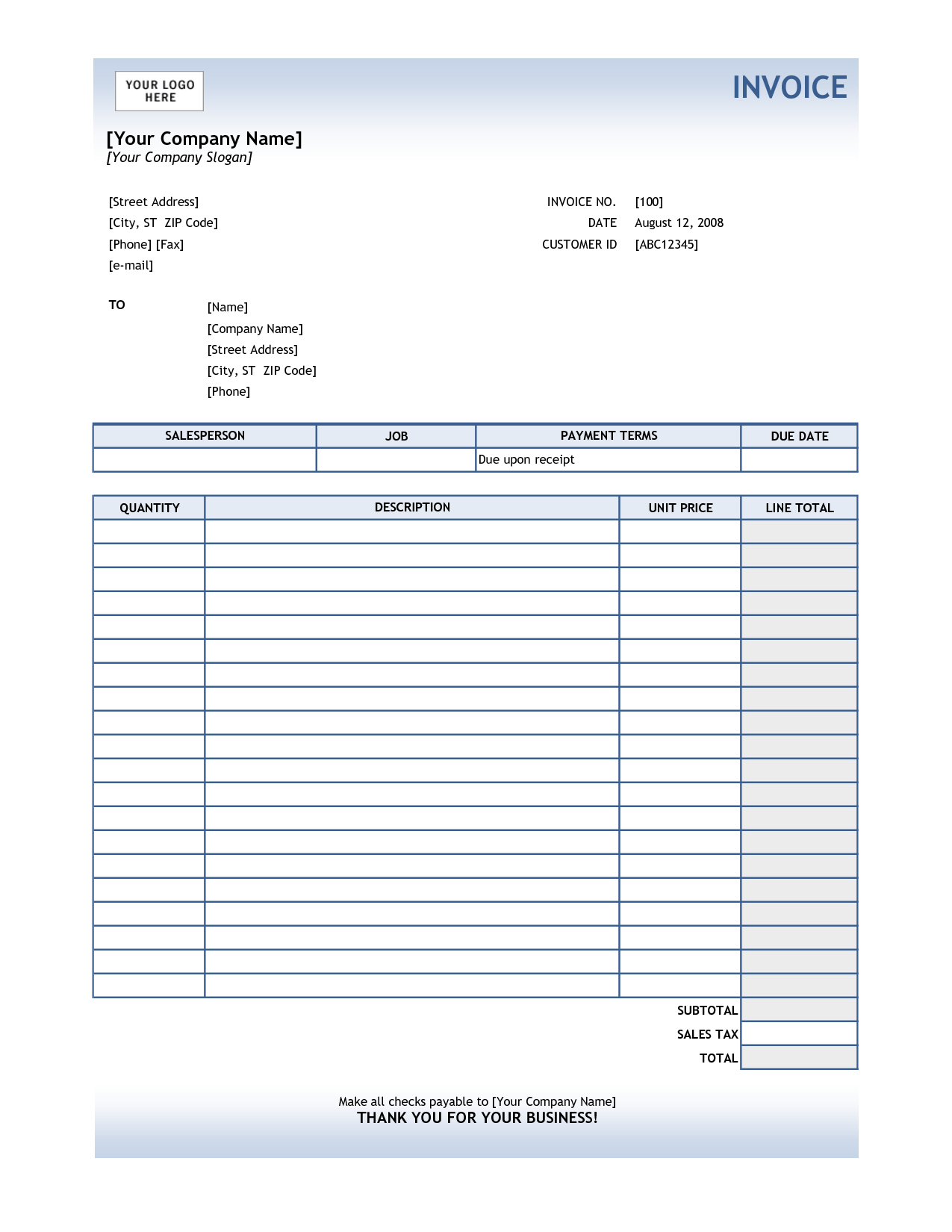 Service Invoice Template Excel