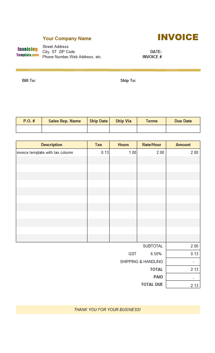 Quebec Tax Invoice