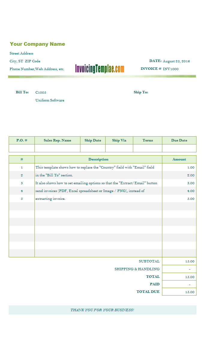 Invoicing Template To Email
