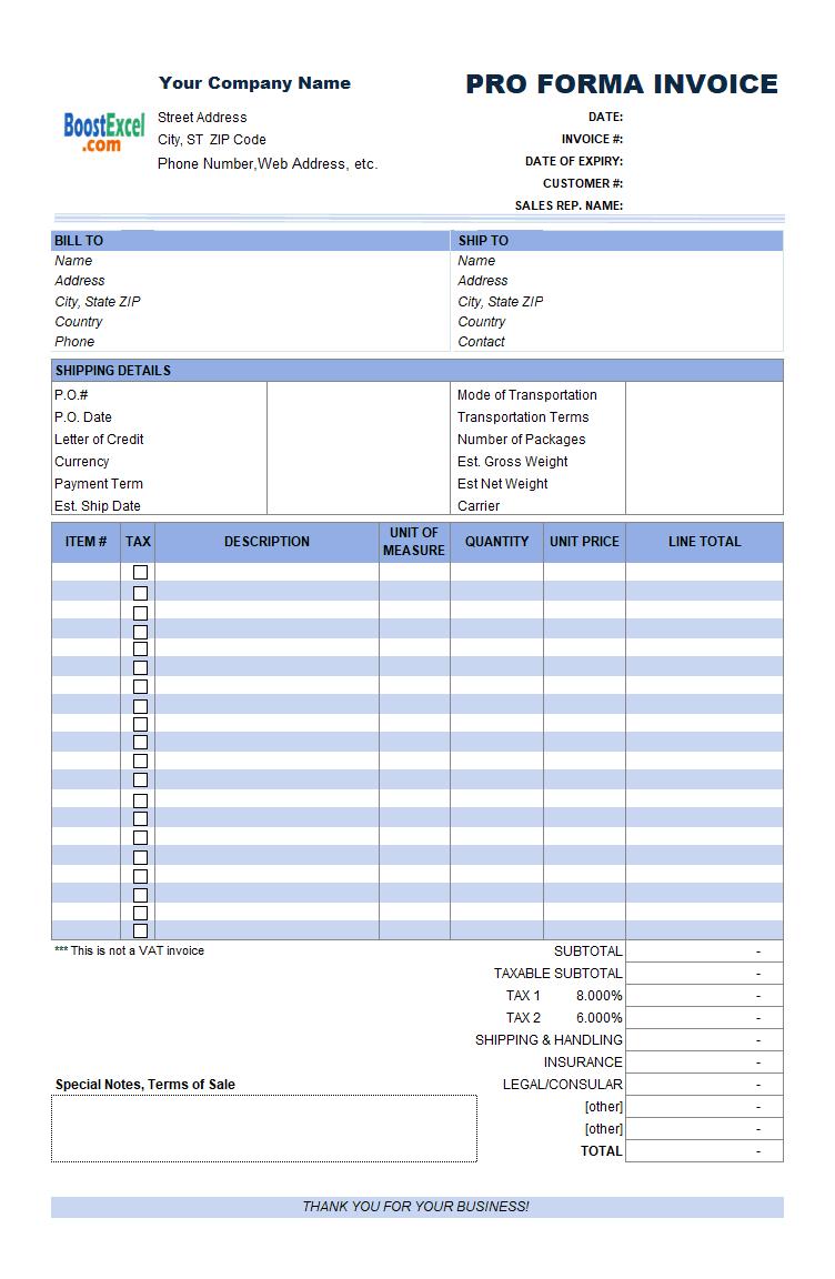 Proforma Invoice Format in Excel