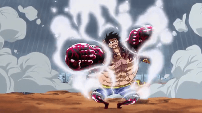 In the anime this is the first of luffy's forms to have a soundtrack made up especially for it. Luffy Uses Gear Fourth 4th For The First Time One Piece In What Episode