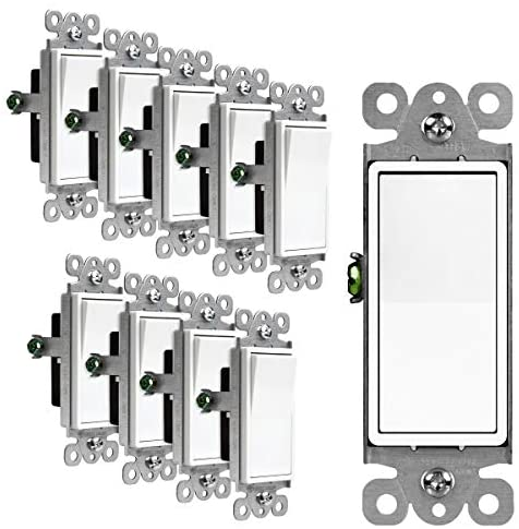 Read more about the article ENERLITES Decorator Paddle Rocker Light Switch, Single Pole, 3 Wire, Grounding Screw, Residential Grade, 15A 120V/277V, UL Listed, 91150-W-10PCS, White (10 Pack)