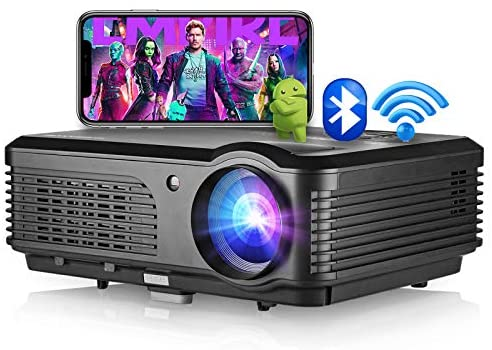 Smart Video Projector with Bluetooth, Wireless WiFi Home Projector Support Full HD 1080p Zoom HDMI USB, LED LCD Projector for Indoor Outdoor Entertainment Laptop Fire TV Stick DVD Player Game Console
