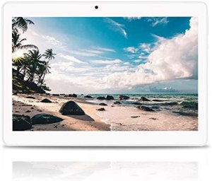 Android Tablet 10 Zoll Android 9.0 OS, 3G Unlocked Tablet with Dual SIM Card Slots, FHD IPS Screen, 4GB RAM, 64GB ROM, Quad Core, 2.0 MP Front + 5.0 MP Rear Camera, Bluetooth, GPS (White)