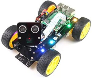 Freenove 4WD Smart Car Kit for Raspberry Pi 4 B 3 B+ B A+, Face Tracking, Line Tracking, Light Tracing, Obstacle Avoidance, Colorful Light, Ultrasonic Camera Servo Wireless RC