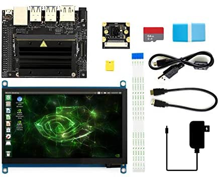 Waveshare Jetson Nano Developer Kit Package C with 7inch IPS Capacitive Touch Display IMX219-77 Camera Board TF Card Runs Multiple Neural Networks a Quad-core 64-bit ARM CPU