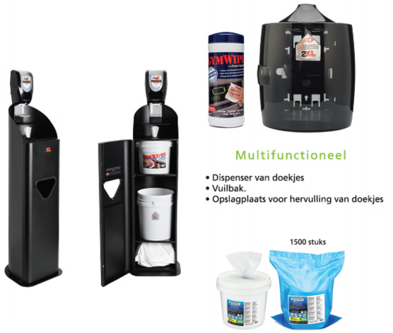 desinfecterende doekjes en dispensers