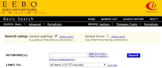 Screengrab of the Chadwyck search interface