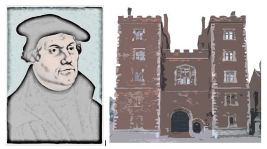 Portait of Martin Luther (after Cranach); main entrance of Lambeth Palace