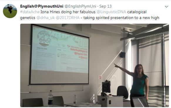 "Tweet from English at Plymouth Uni with photo from presentation and ""taking spirited presentation to a new high""."