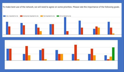 """Chart showing responses to the question, """"o make best use of the network, we will need to agree on some priorities. Please rate the importance of the following goals."""""""