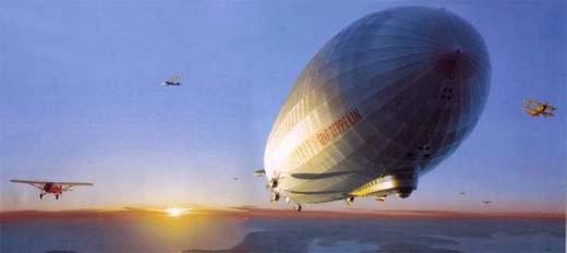 Recreación del Graff Zeppelin en pleno vuelo