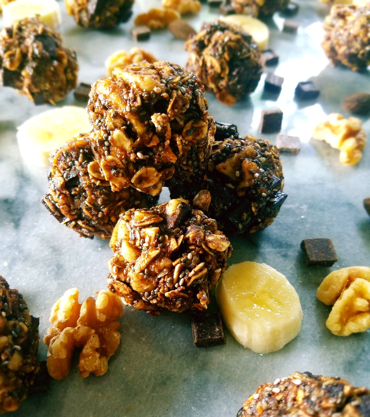Chunky Monkey Protein Bites - A healthier no-bake version of chunky monkey full of good for you fats and lots of protein to sustain energy during your favorite outdoor activities.