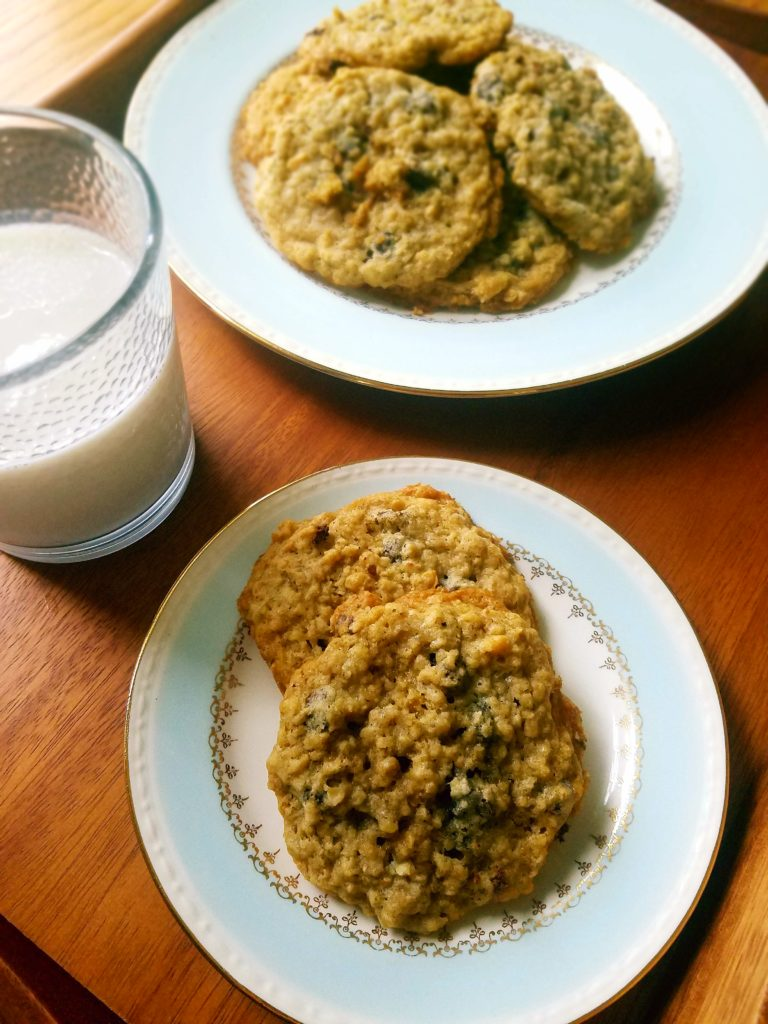 Chocolate chip oatmeal cookies. Easy to make with a few ingredients you likely already have on hand.