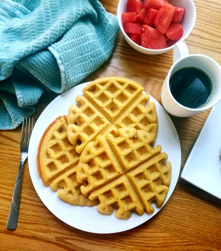This homemade chickpea waffle recipe is super easy to execute (7 minute prep!) and are just as fluffy as a classic waffle. They're healthy, lightly sweet and delicious! #healthybreakfast