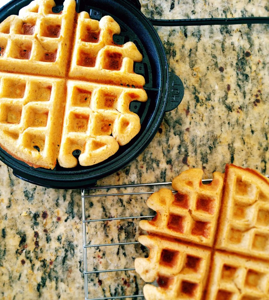 Healthy waffles for the breakfast win! Make these homemade waffles for your next breakfast and wonder why you haven't been using chickpeas to make waffles all the time! #healthybreakfast