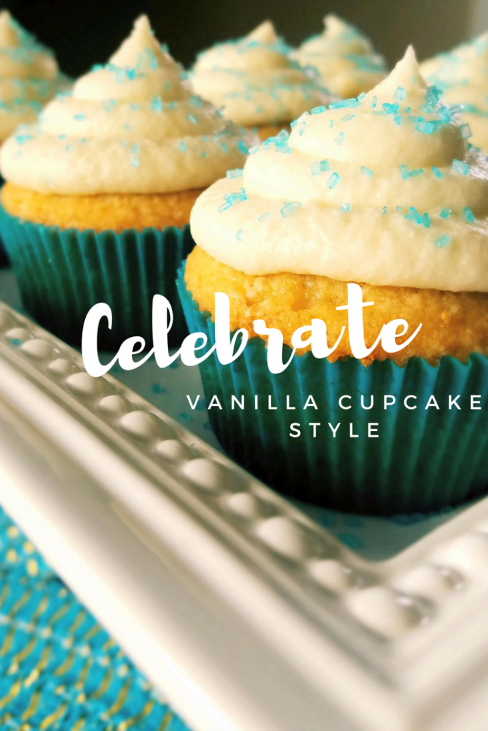 Celebrate your next birthday or party with vanilla cupcakes made from scratch and homemade buttercream frosting. No one will be disappointed!