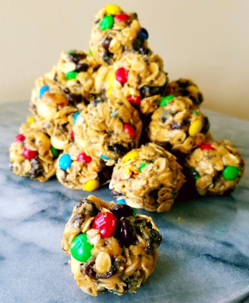 Trail mix energy bites are a great healthy pre or post workout snack.