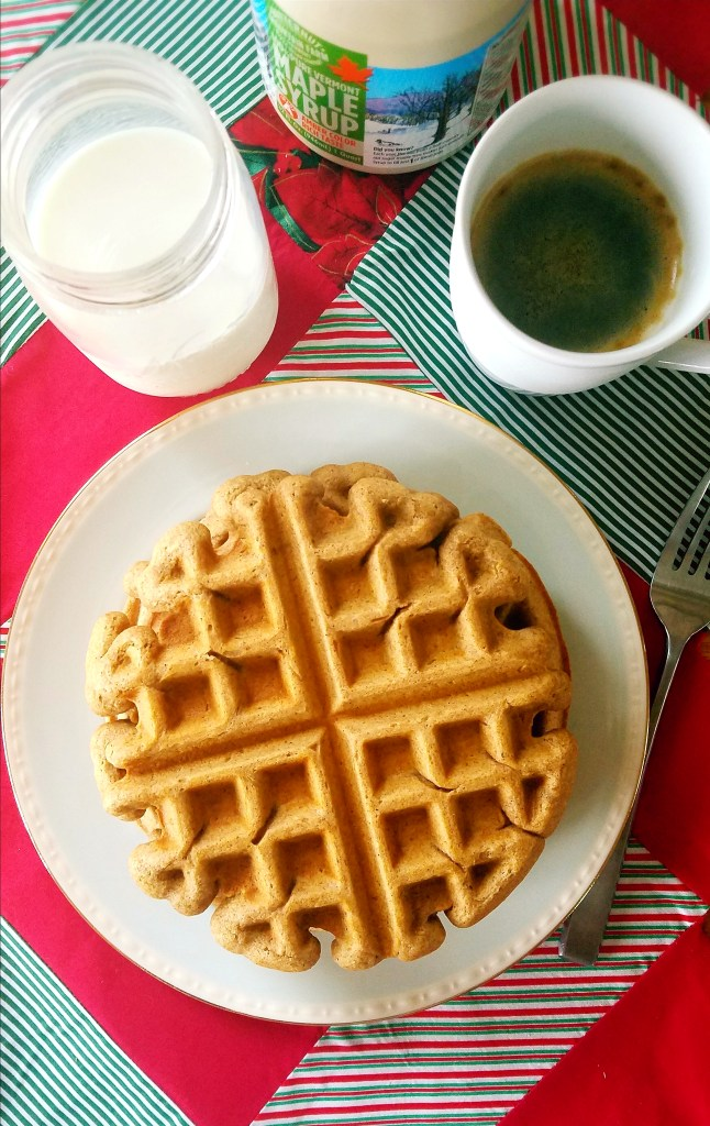 Healthy, homemade eggnog waffles are the perfect healthy breakfast for the holidays. They have all of the flavors of traditional eggnog, but without all of the heavy calories associated with the creamy, nutmeg spiced drink. #healthy #breakfast #waffles #homemade