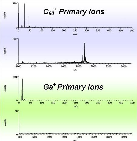 Spectra of Gramicidin D under Ga+ and C60+ bombardment.