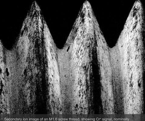 SIMS images of M1.6 screw thread showing Cr peak