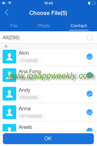 choose contacts to send in shareit app on iphone