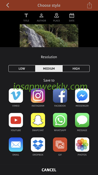save, share video from videoshop video editor on iphone