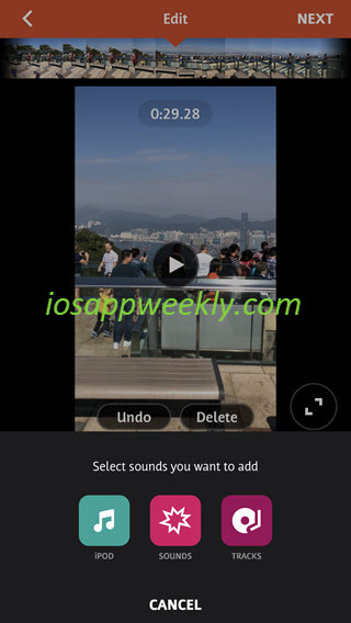 add sound effects, music songs, audio to video on iphone using videoshop