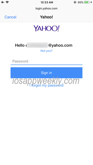 enter yahoo mail password on iphone