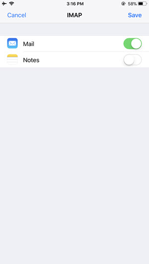sync imap mail notes to iphone
