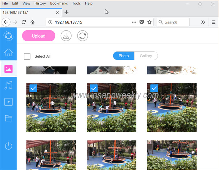 upload, download photos from pc to iphone or from iphone to pc using shareit webshare