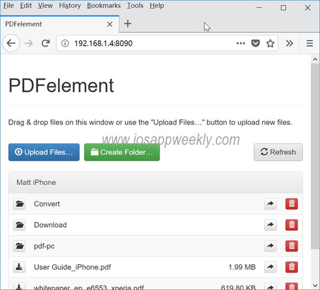 pdf element iphone pc web transfer through wifi