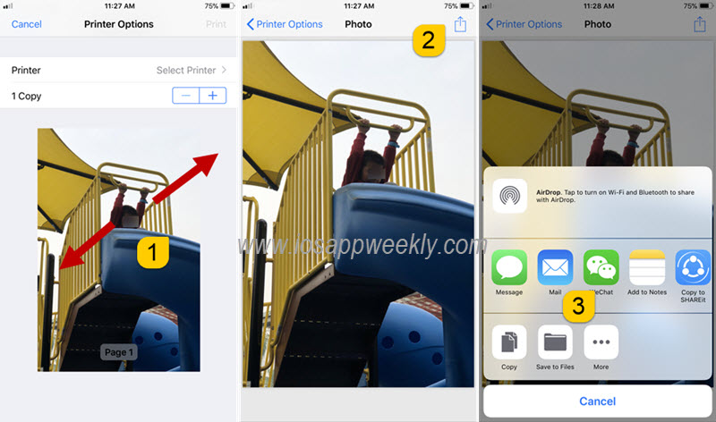 convert photo to pdf through printer option on iphone