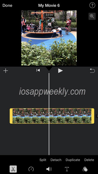 split, trim video movie in imovie on iphone