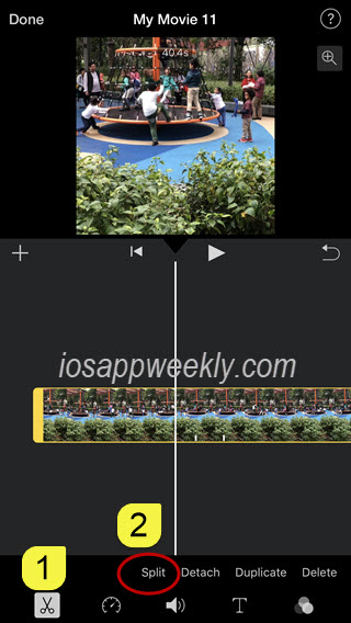 split video in imovie on iphone