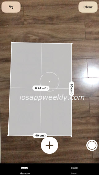 measure length, width, size of rectangle objects using the measure app on iphone